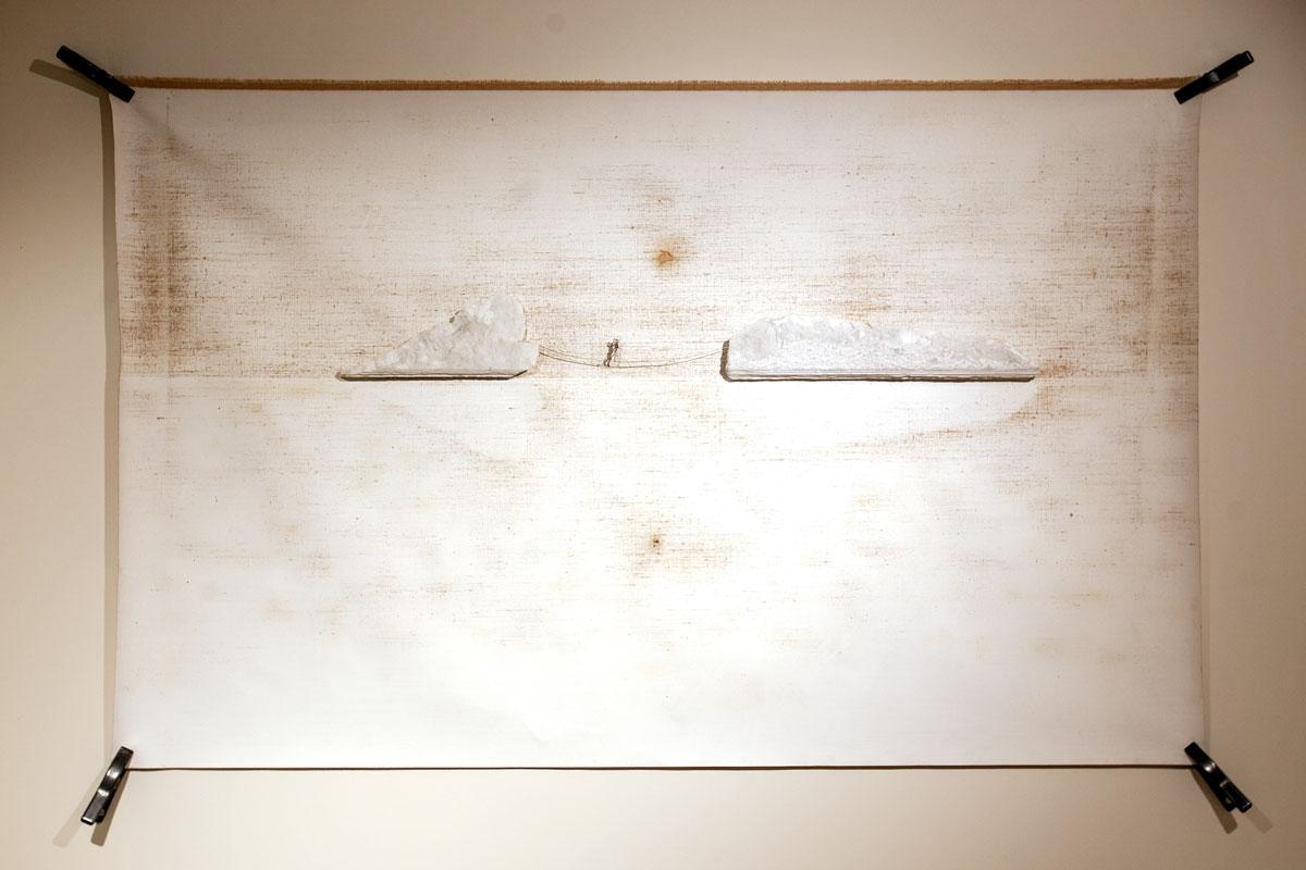 EQUILIBRIO, scultura. tecnica mista su tela, taglio lader in inox e marmo 130x210cm